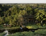 Jao Camp lies in the heart of the Okavango Delta. Its 9 spacious tents offer en-suite facilities and expansive views from the private deck, Botswana.