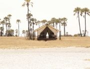 San Camp in the Makgadikgadi Salt Pans at sunset, one of the most romantic stays in Southern Africa, Kalahari Desert, Botswana