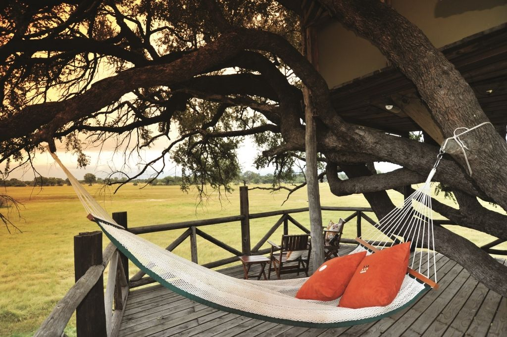 The Dove's Nest at The Hides is a luxury tree house, overlooking the open vlei & pan and Hwanges Wildlife, Zimbabwe.