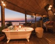 Tongabezi Lodge, Zambia, Bathroom with view across Zambezi River