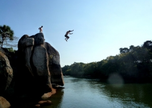 Jump in the water at Mawimbi Bush Camp