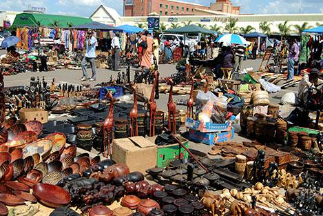 Wares for sale in a Lusaka outdoor market, Zambia