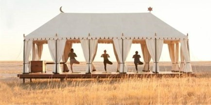 Luxury San Camp is situated right on the edge of the vast Makgadikgadi Salt Pans in Botswana, enjoy activities like yoga lessons, game drives, quad biking in the Kalahari and meet the meerkats.