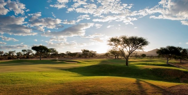 The camel thorn trees add to the peaceful scenery in and around the course. Image by Omeya Golf and Residential Oasis, Golf Courses of Namibia