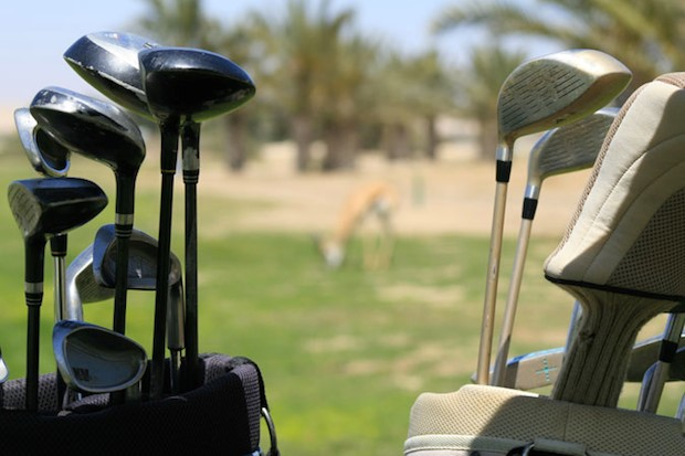 The Rossmund Golf Course, Clubs in the foreground, a springbok in the background. Image by 2Travel4Ever, Golf Courses of Namibia