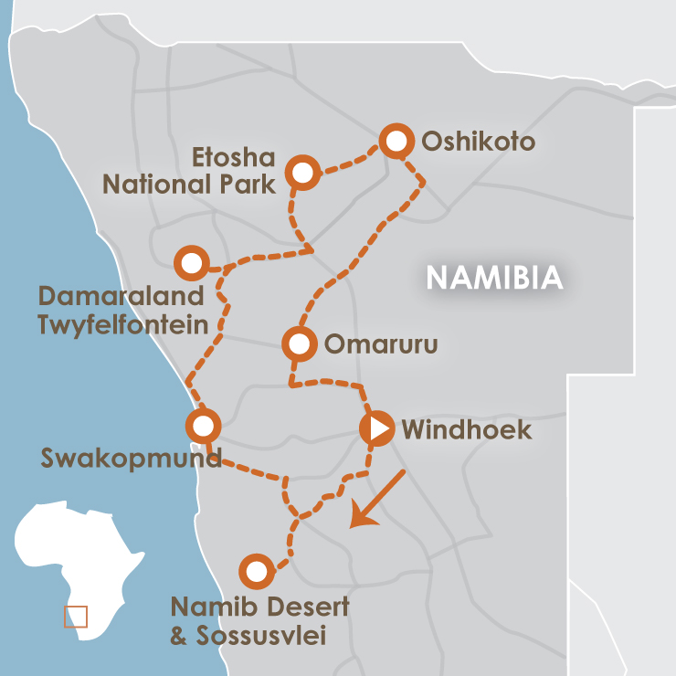 Namibia Self-Drive Safari Package, Make your way through stunning Namibia on this Bush Adventure, from Windhoek, Sossusvlei, Swakopmund