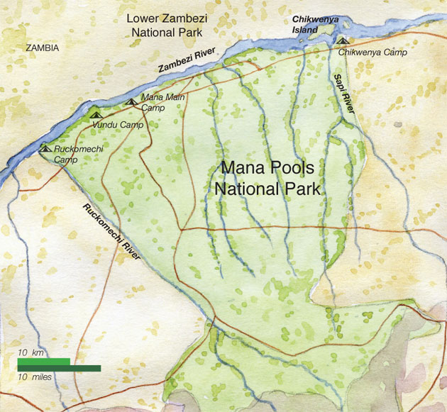 Map of Mana Pools National Park, Chikwenya Camp and Ruckomechi Camp, Zambezi River, Ruckomechi River, Sapi River, Zimbabwe