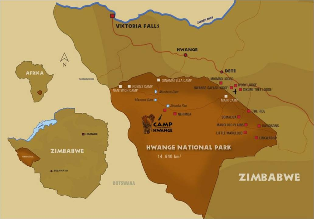 Map Camp Hwange in Hwange National Park, Zimbabwe, How to get to Camp Hwange, Roads and Camps, Zimbabwe.