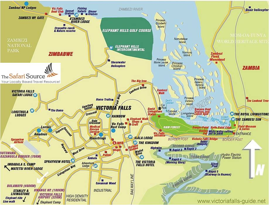 Map of Victoria Falls Town Center, Hotels, Lodges, Camps, Roads and Victoria Falls, Zimbabwe