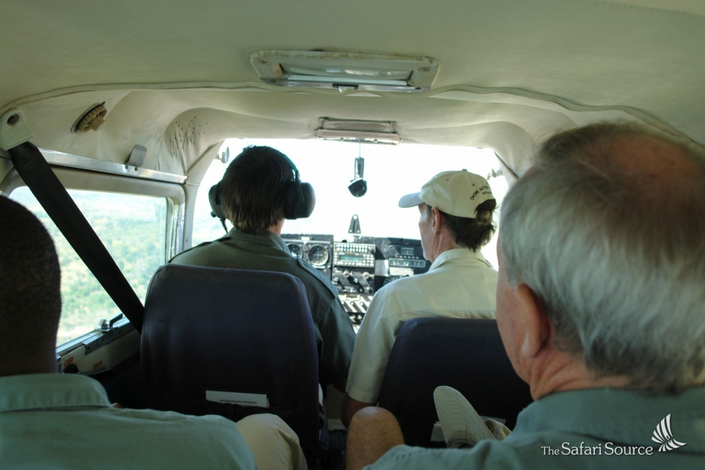 Inside one of the small Charter Bush Planes.