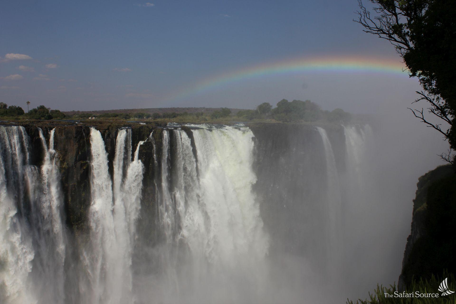 Victoria Falls Main Falls, Zimbabwe, Zambia, One of the natural World Wonders, the world's largest waterfalls, rainbow, gorge, zambezi river.