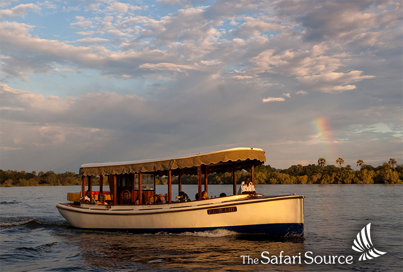 Sunset boat cruise, sundowner, Zambezi River, Victoria Falls, Zimbabwe, Zambia, historical boats, Ra-I-Kane