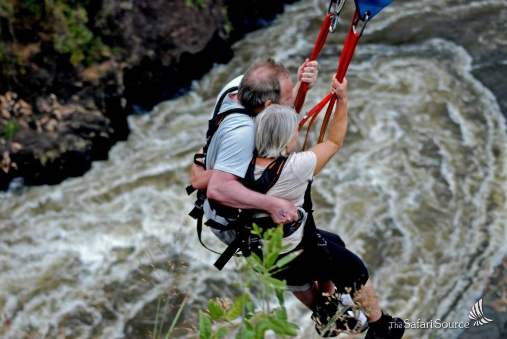 Zipline and Bungee Jumping at the Victoria Falls, Victoria Bridge, Zimbabwe, Zambia, Zip Line, Flying Fox, Bridge Slide, Bridge Swing, Zambezi River, Gorge, Adrenaline kick.