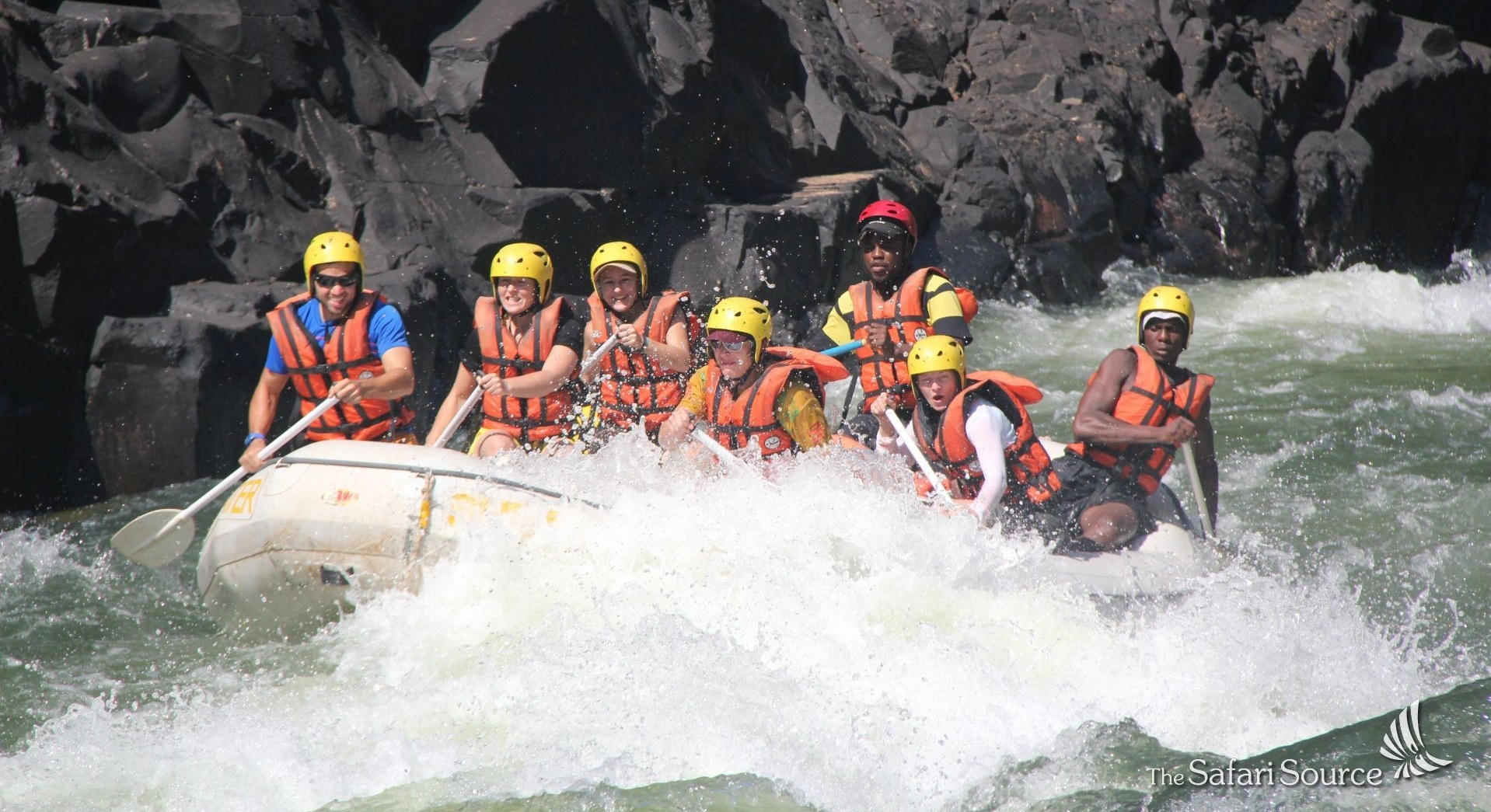 Adventure Travel, White water rafting on the Zambezi River in the gorge below the Victoria Falls, Zimbabwe