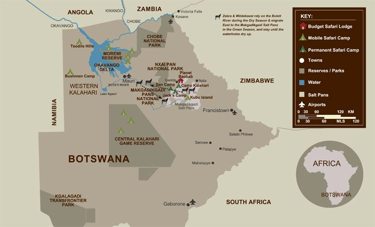 Uncharted Africa Safari Camps in Botswana, Jacks Camp, Planet Baobab, San Camp, Camp Kalahari