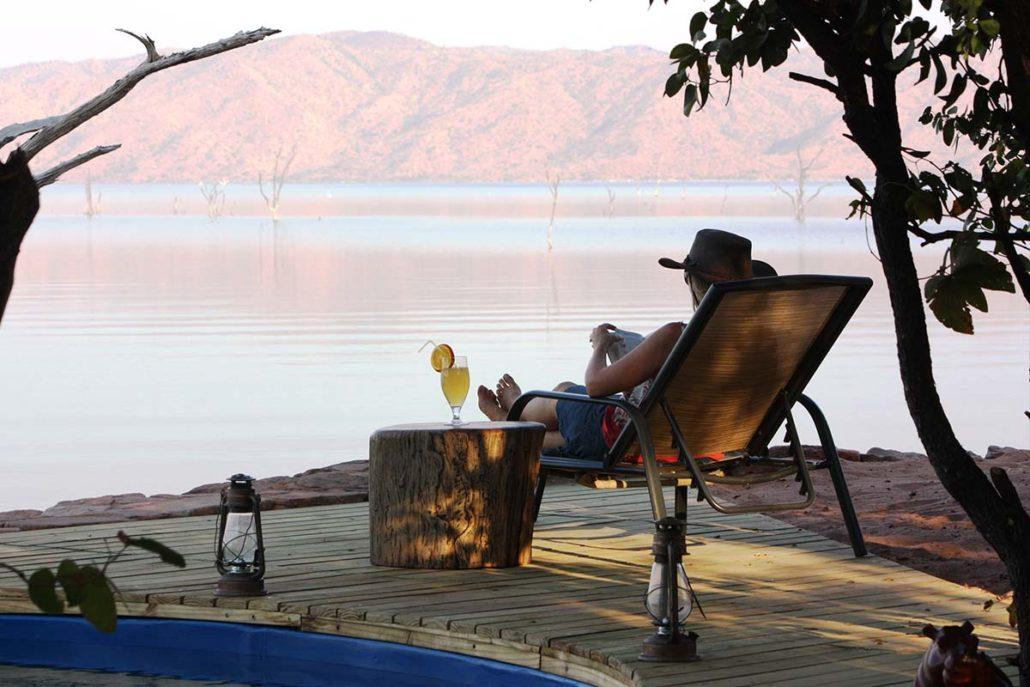 View from the swimming pool at Changa Camp, overlooking Lake Kariba in Matusadona National Park, Zimbabwe.