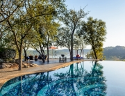 Pamushana Lodge. Malilangwe Reserve, Chiredzi, Zimbabwe. Pool and view.