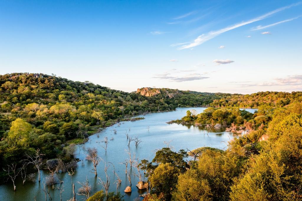 Pamushana Lodge. Malilangwe Reserve, Chiredzi, Zimbabwe. Aerial view.