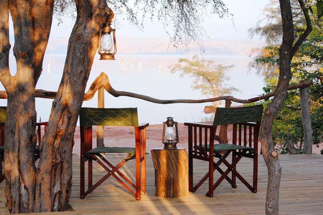 Changa Safari Camp - the main deck looking over the Lake Kariba.