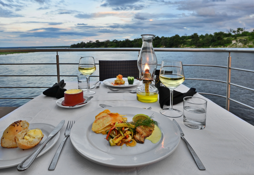 Chobe Princess - romantic dinner for two. ©Zambezi Queen Collection.