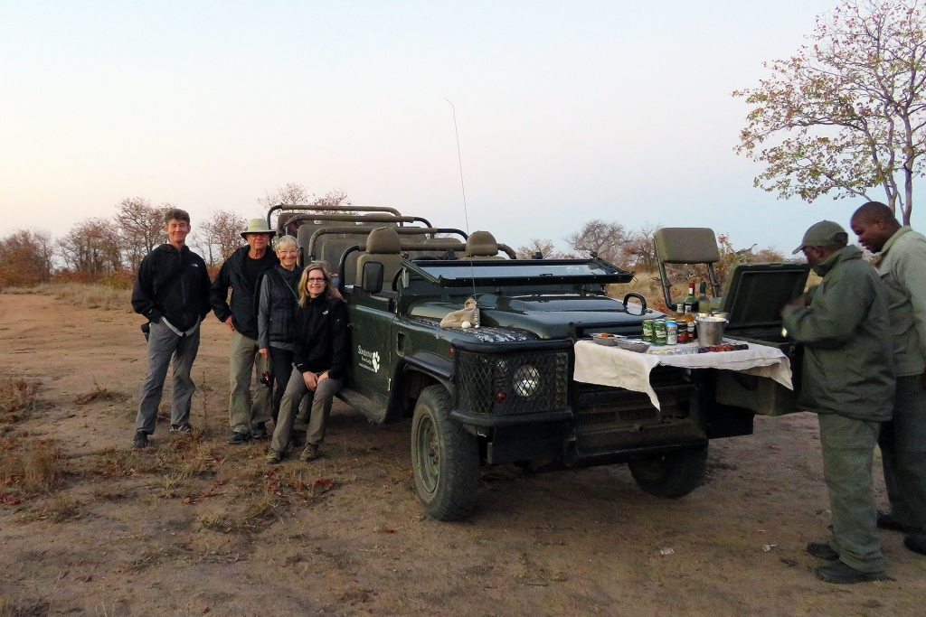 Family Powell on a game drive at Simbavati, South Africa.