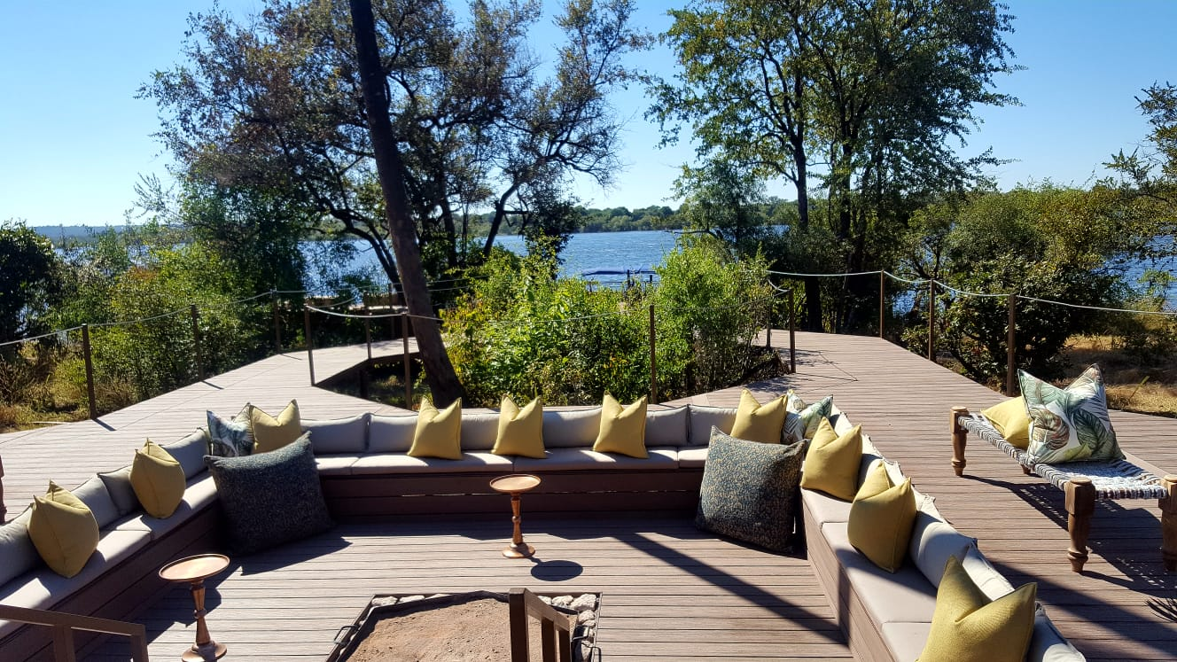 Firepit with large seating area at Old drift Lodge